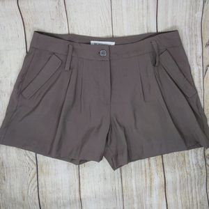 BCBGeneration Brown High Rise Pleat 4 Inch Shorts